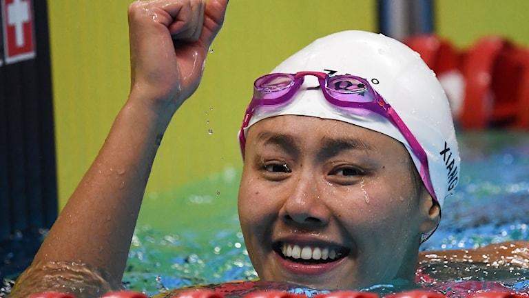 Liu Xiang satte nytt världsrekord på 50 meter ryggsim i dag.