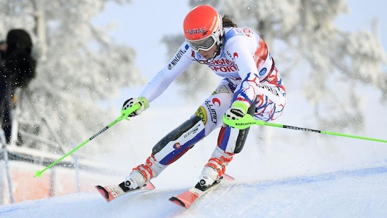 2017 Petra Vlhova under Levis slalom. Foto: VESA MOILANEN/TT