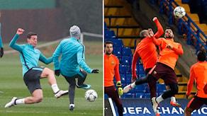 Två bilder med fotbollsspelare