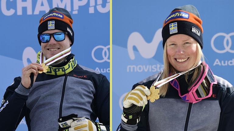 VÖN och Näslund efter sina VM-guld.