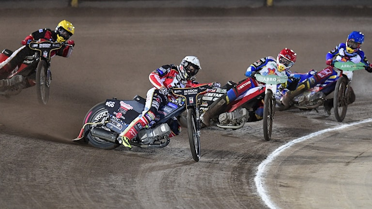 MÅLILLA 2019-09-25 Heat 1 under onsdagens SM-slutspel i speedway, final, andra matchen mellan Dackarna och Eskilstuna Smederna på FG&B Arena. Foto: Mikael Fritzon / TT