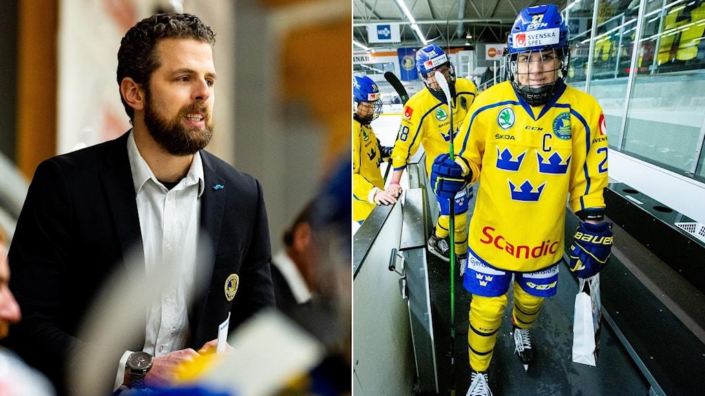 Damkronornas förbundskapten Ulf Lundberg och Emma Nordin.