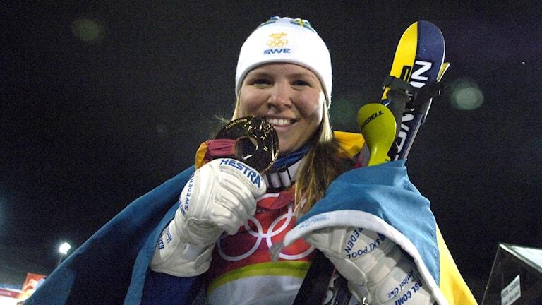 OS 2006 Anja Pärsons guld. Foto: Janerik Henriksson/TT