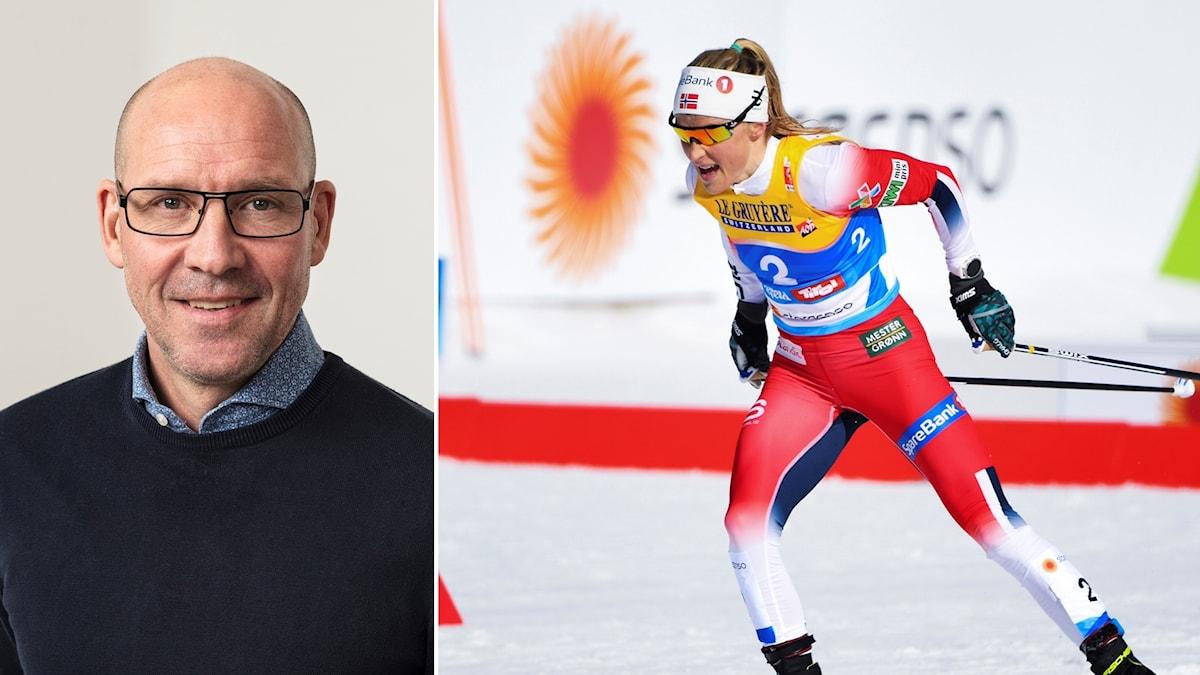 Torgny Mogren (tv) och Therese Johaug.