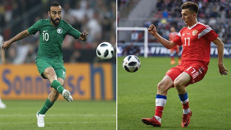 Mohammad al-Sahlaw (vänster) och Alexander Golovins Ryssland gör upp i VM-premiären.