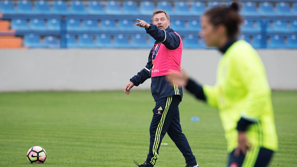 Peter Gerhardsson under träningen. Fotbollslandslaget tränar i Varazdin inför tisdagens VM-kval match mot Kroatien