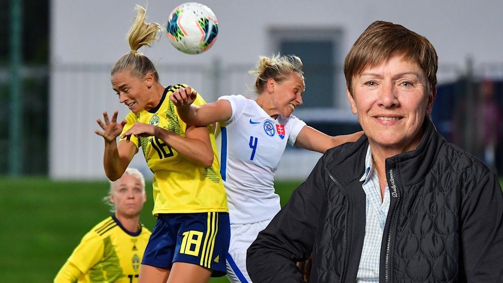 Sveriges Fridolina Rolfö i höjdduell och expert Anette Börjesson.