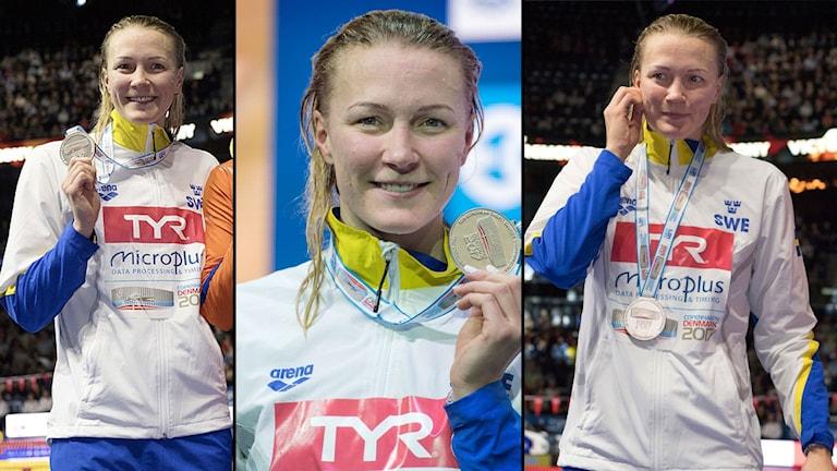 Det blev trippla silver för Sarah Sjöström på fredagskvällen.