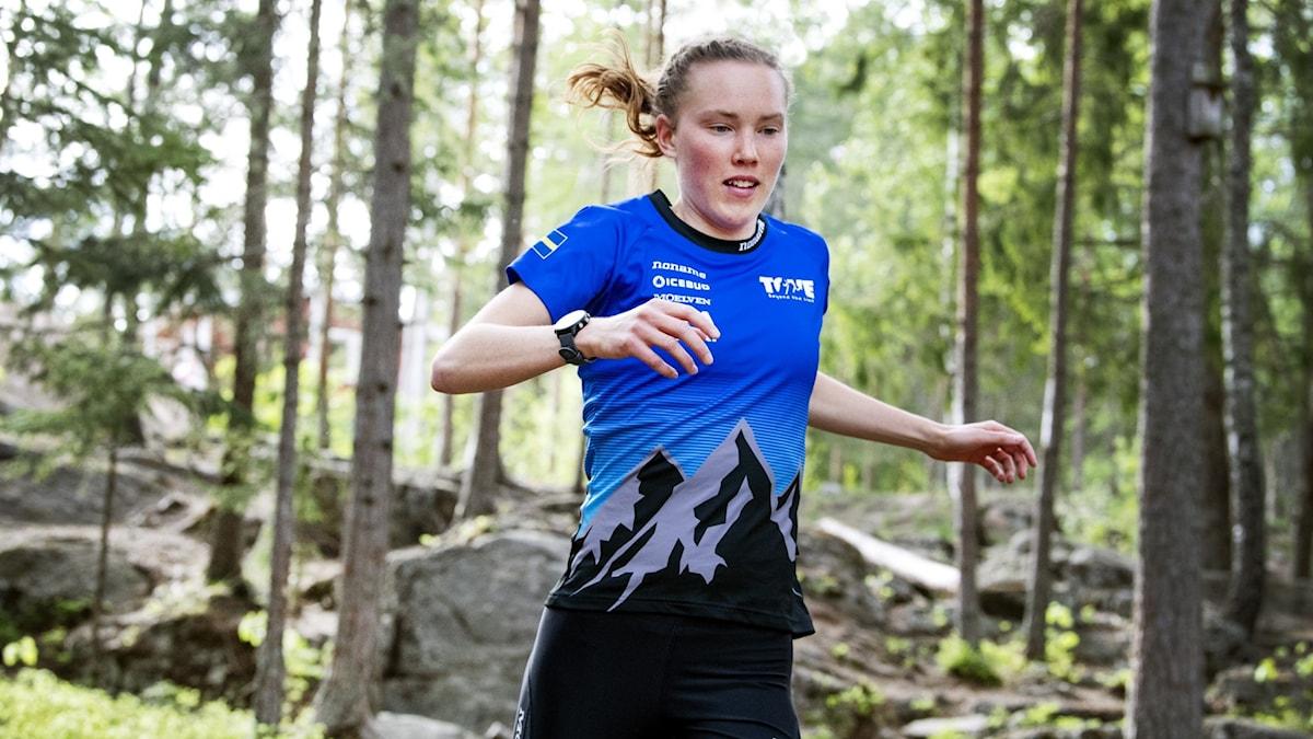 BORLÄNGE 2020-05-26  Orienteraren och världsmästaren Tove Alexandersson från Borlänge tränar för fullt.  Foto Ulf Palm / TT