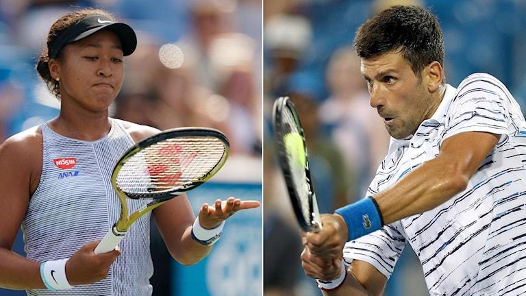 2019 i Cincinatti Naomi Osaka och Novak Djokovic. Foto: John Minchillo och Matthew Stockman/TT