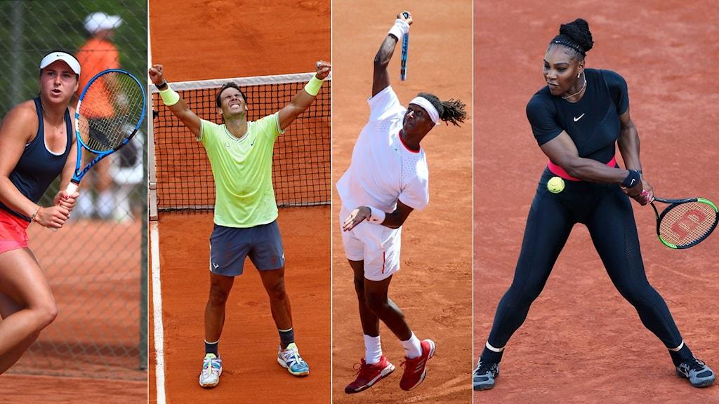 Tenniscollage inför Franska Öppna 2020. Foto: Hossein Salmanzadeh, Christophe Ena, Adam Ihse, Thibault Camus/TT, collage SR