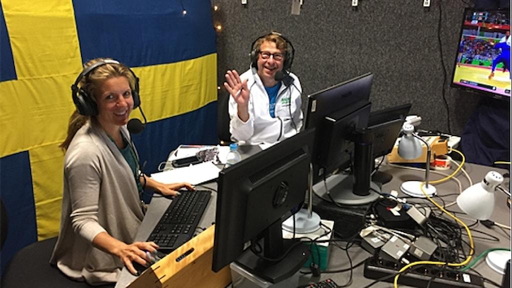 Linn Nenzén och Roger Burman i OS-studion