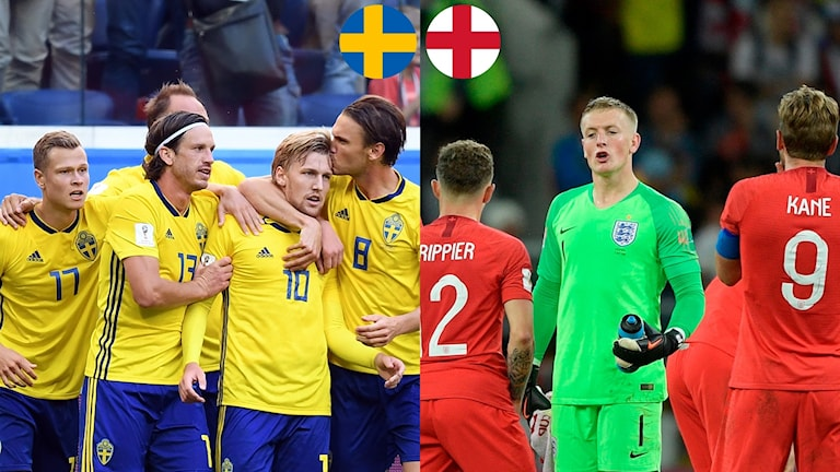 Matchguide Sverige-England. Foto: TT, collage SR