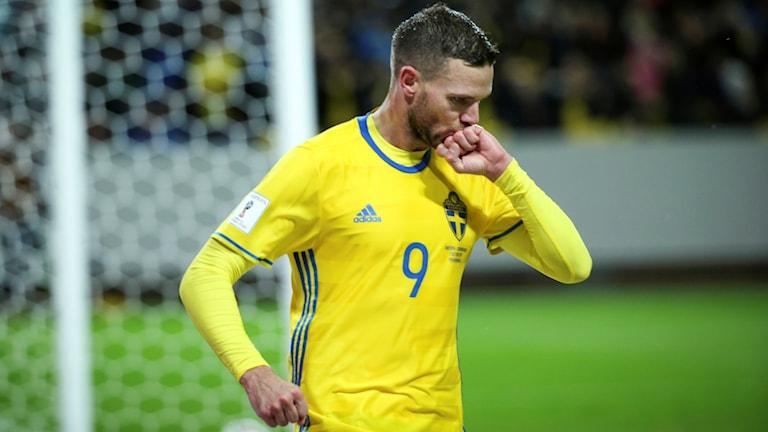 Sveriges Marcus Berg jublar efter 3-0 under lördagens VM-kvalmatch Europa (grupp A) mellan Sverige och Luxemburg på Friends Arena i Solna.
