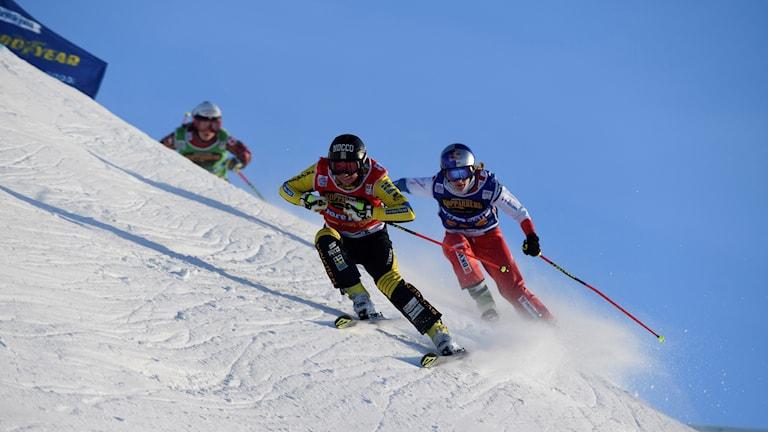 Sandra Näslund under världscupen i skicross i Idre.