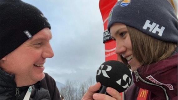 Estelle Alphand intervjuad av Radiosportens Jonas Enarson