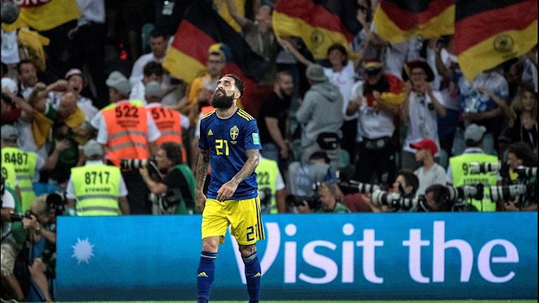 VM 2018 Jimmy Durmaz efter Tysklandsmatchen. Björn Larsson Rosvall/TT