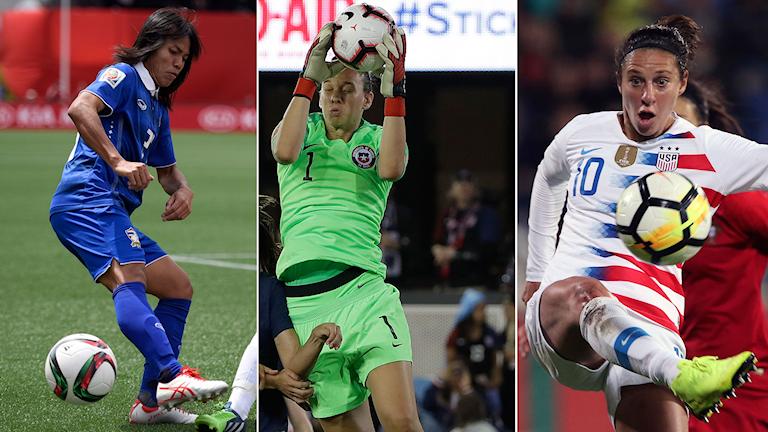 Collage Sveriges VM-motståndare Thailand, Chile och USA. Foto: TT, collage SR