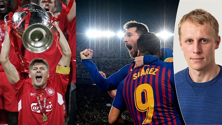 Collage Gerrard Messi. Foto: TT och SR