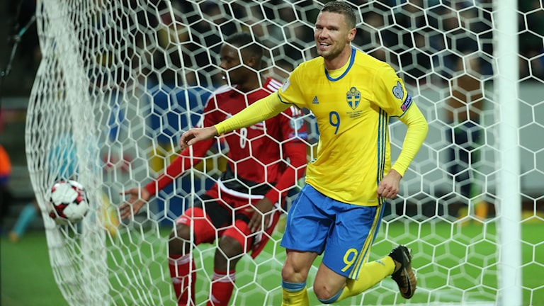 Marcus Berg gjorde fyra mål i den svenska segern.