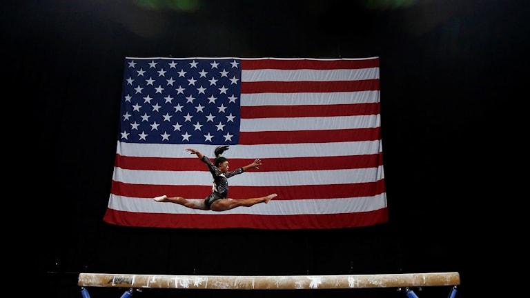 Amerikanska stjärnan Simone Biles under VM nyligen.