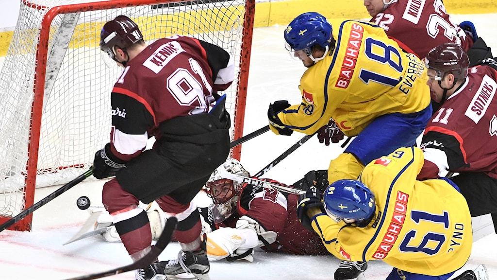 Johan Ryno (på knä) kvitterar till 3-3 mot Lettland i lördagens träninsglandskamp i Södertälje.