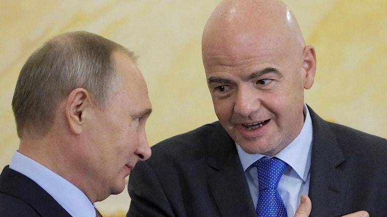 Rysslands president Vladimir Putin och FIFAs ordförande Gianni Infantino