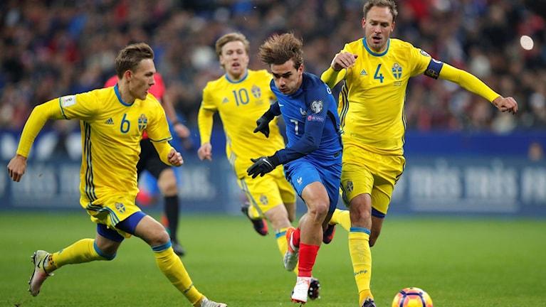 Frankrike mot Sverige i VM-kvalet.