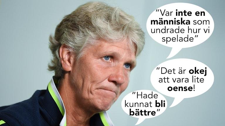 Pia Sundhage uttalar sig om mycket i Radiosportens intervju.