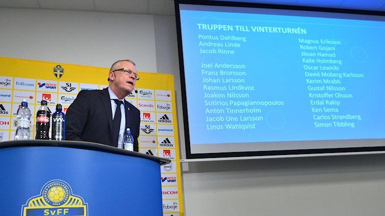 Janne Andersson presenterar landslagstruppen till januariturnén 2018.