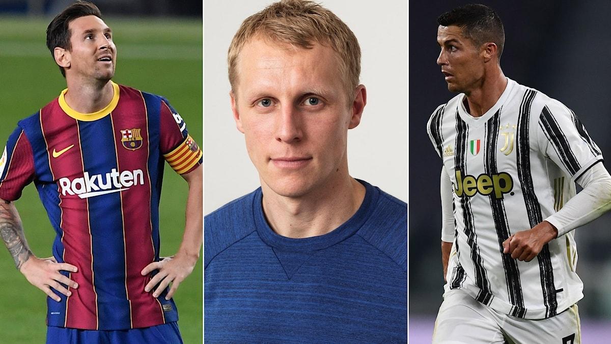 Lionel Messi, Richard Henriksson och Cristiano Ronaldo.