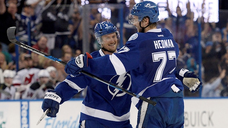 Anton Strålman och Victor Hedman spelar tillsammans även i Tampa Bay.