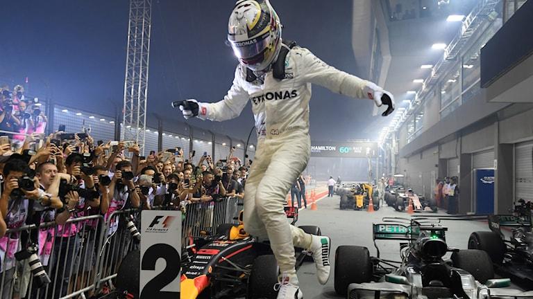 2018 Lewis Hamilton efter segern i Singapore. MOHD RASFAN/TT Foto: