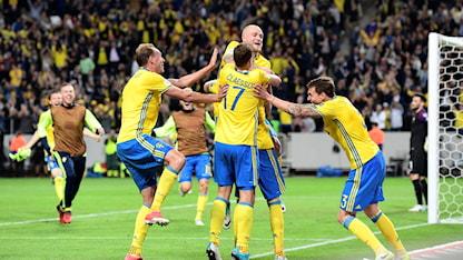 Stort jubel i svenska laget efter galna segermålet.