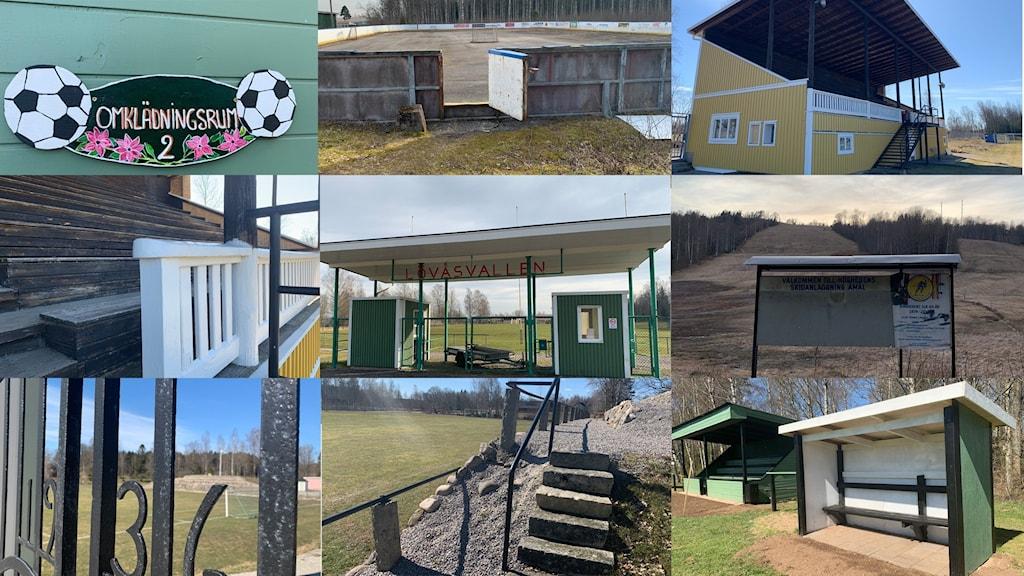 Kollage av idrottsplatser