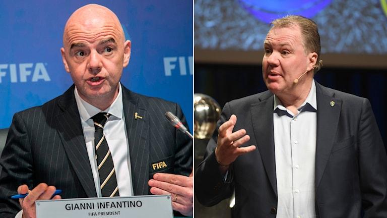 Gianni Infantino (t.v.) och Karl-Erik Nilsson (t.h.).