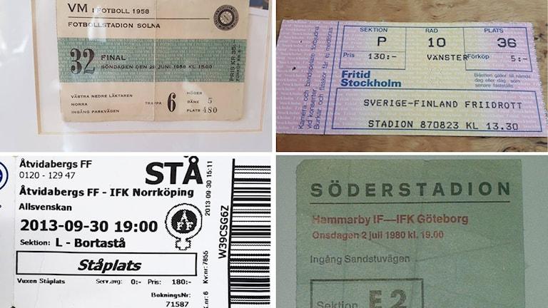 Här är fyra av biljetterna som skickats till Radiosporten.