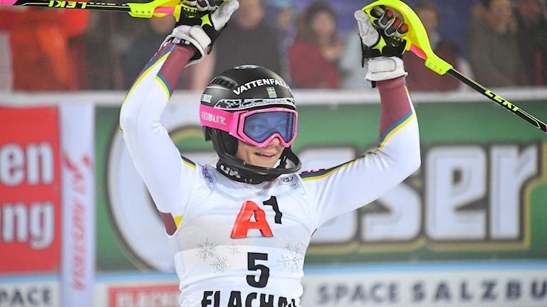 Frida Hansdotter blev trea i Flachau.
