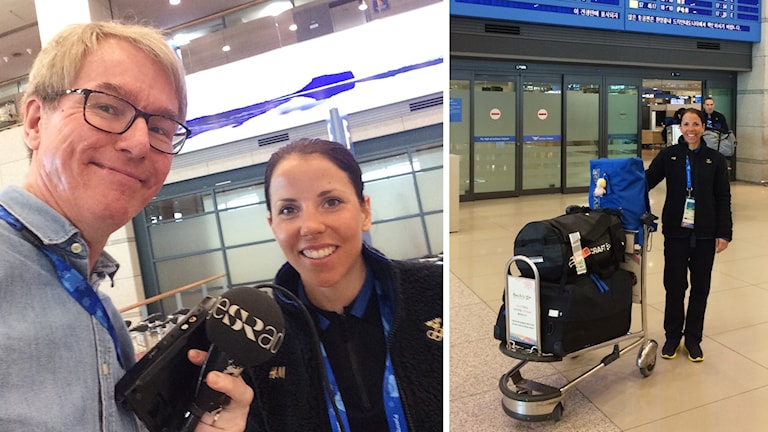 Radiosportens Bengt Skött välkomnade Charlotte Kalla på flygplatsen.
