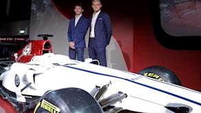 Saubers nya Formel1-bil. Foto: Luca Bruno/TT.