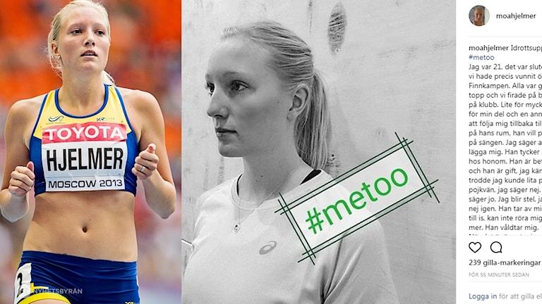 Moa Hjelmer berättar på Instagram om hur hon blev våldtagen av en annan aktiv efter Finnkampen.