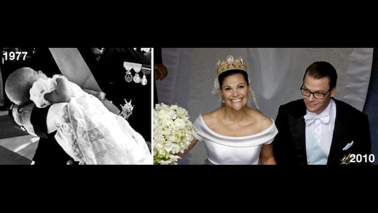 Bild från kronprinsessan Victorias dop 1977 i collage med bild från Victoria och Daniels bröllop 2010. Foto: Scanpix