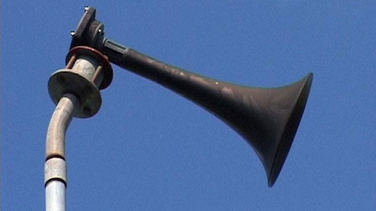 Hesa Fredrik som förr skulle varna befolkningen för anfallande bombflyg, används idag som larmsignal vid olyckor och eller annan stor fara. Foto: Daniel Zdolsek / Scanpix