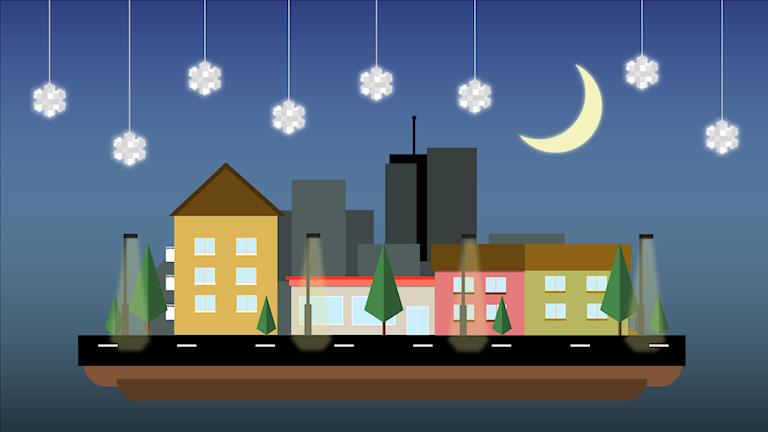 Illustration av stad med måne och reflexer hängande över sig