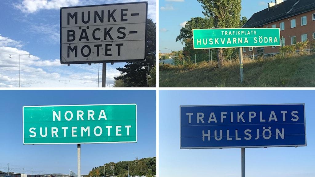 Skyltar med mot och trafikplats