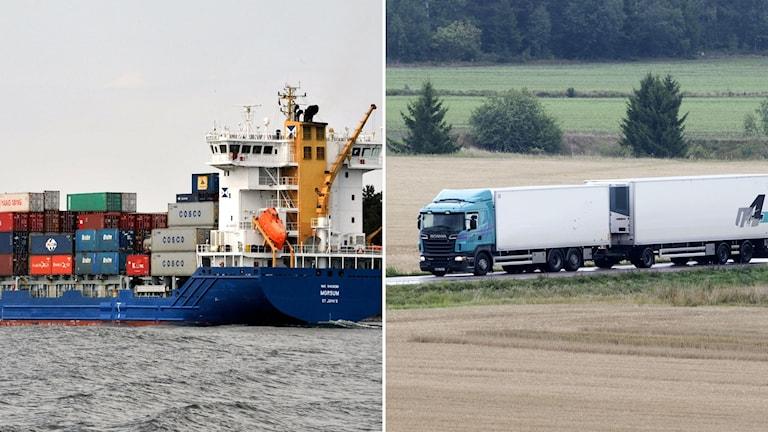 Lastfartyg med containrar och en lastbil på en landsväg.