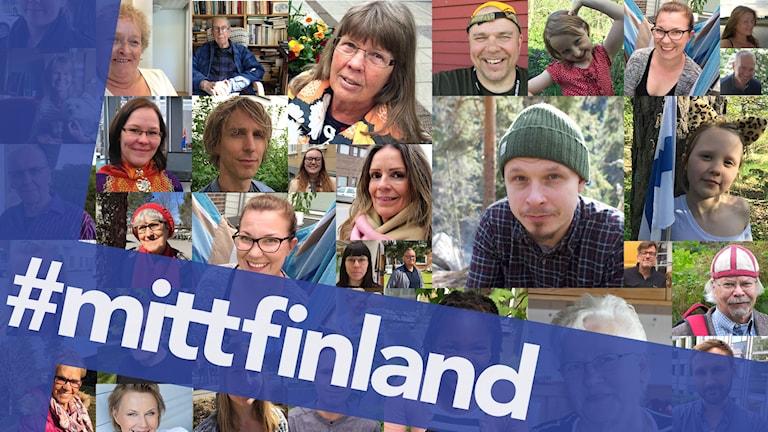 Kuvakollaasi henkilöistä, jotka ovat mukana Sisuradion #mittfinland-projektissa