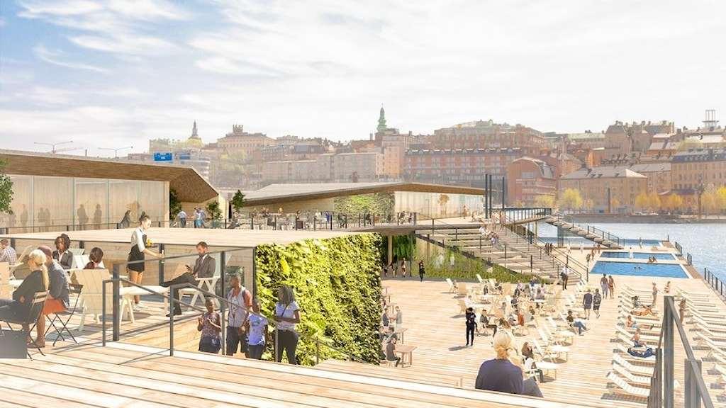 Munkbrohamn vuonna 2023: kaksi uima-allasta, ravintolapaikkoja ja lekottelutuoleja.