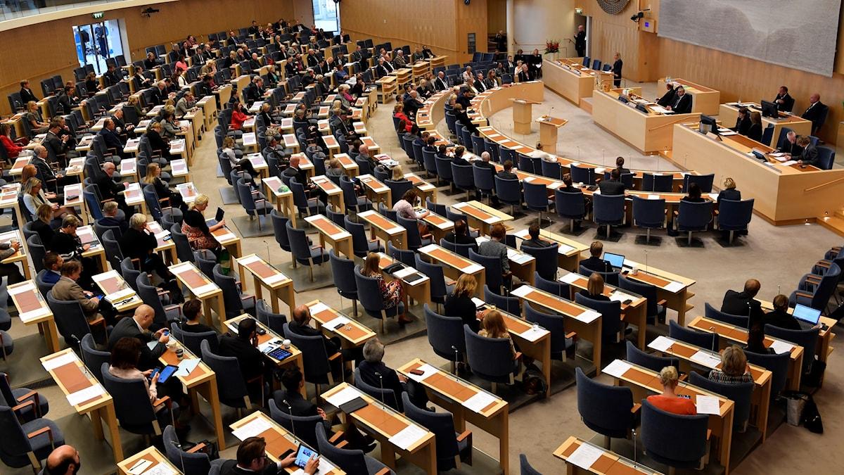 Kuvassa valtiopäivien plenum-sali