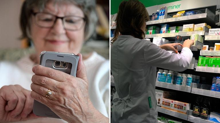 En äldre kvinna med mobil och en apotekare vid en hylla